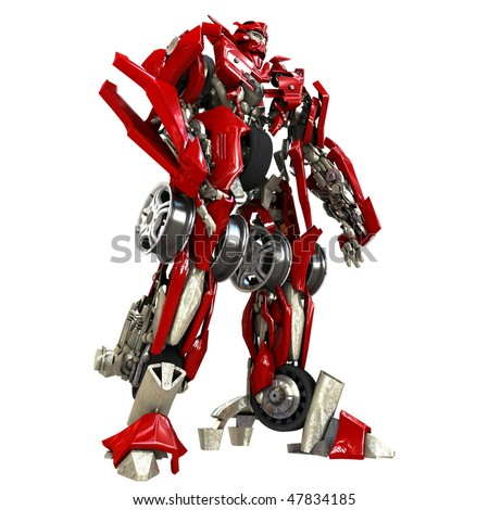 Robot Transformer isolated on white background. 3d rendered - stock photo
