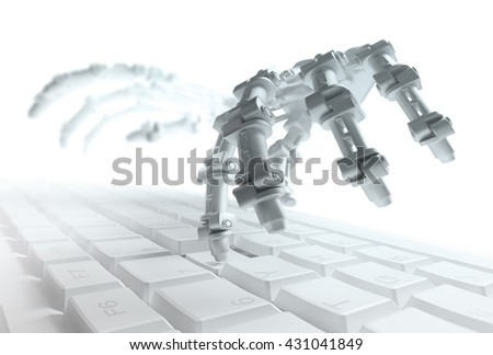 Robot typing on a computer keyboard - automation and AI research concept 3d illustration - stock photo