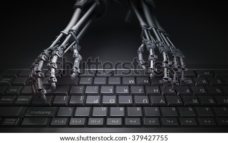 Robot typing on a computer keyboard - automation and AI research concept illustration - stock photo