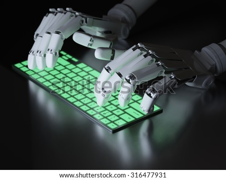 Robot typing on conceptual keyboard - stock photo