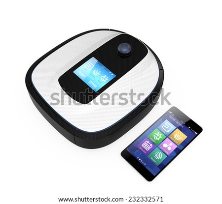 Robot vacuum cleaner and smart phone isolated on white background. IoT( Internet of things) concept - stock photo