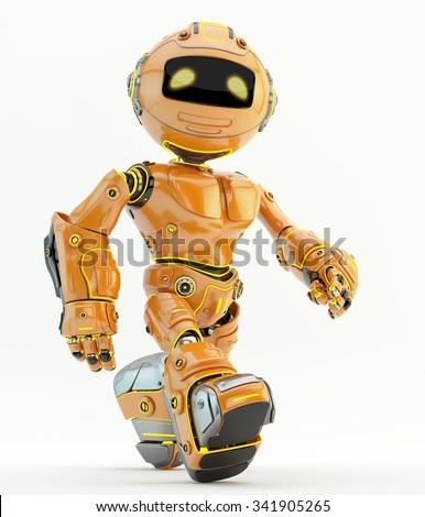 Robot walking. Orange plastic material with yellow illumination - stock photo