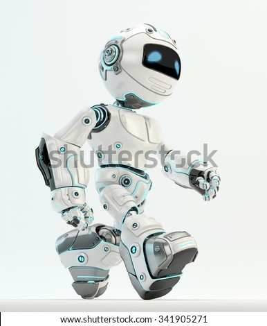 Robot walking. White  plastic material with blue illumination - stock photo