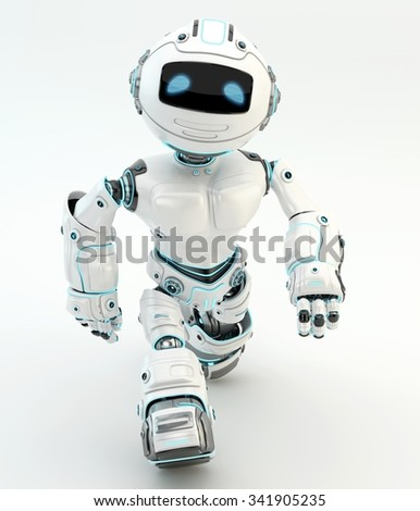 Robot walking. White plastic material with blue illumination. Upper view - stock photo
