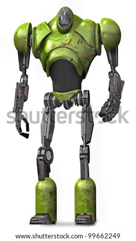 Robot Warrior Lime - stock photo