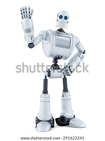 Robot waving hello. Isolated over white. Contains clipping path. - stock photo