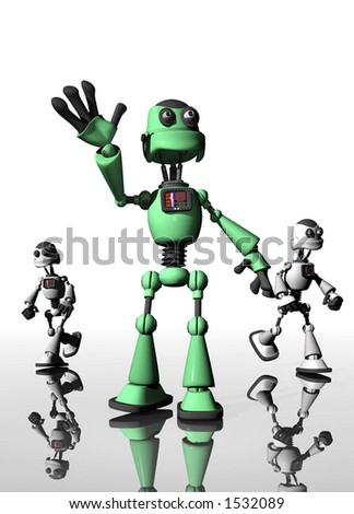Robot waving with friends in the background