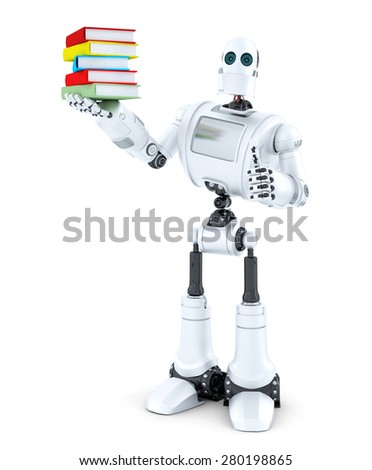 Robot with a pile of books. Isolated on white . Contains clipping path - stock photo