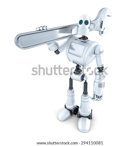 Robot with adjustable wrench. Isolated over white. Contains clipping path - stock photo