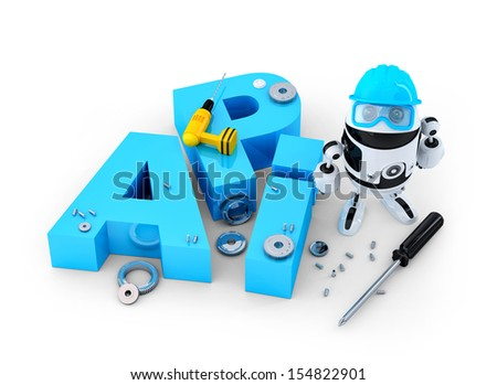 Robot with application programming interface sign. Technology concept. Isolated on white background - stock photo