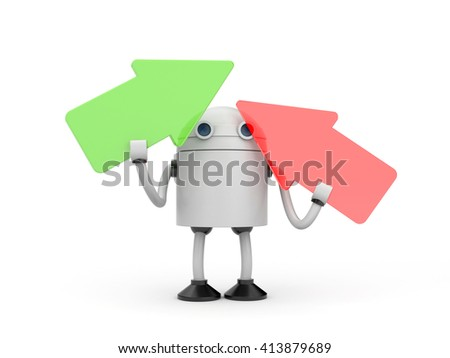 Robot with arrows. 3d illustration - stock photo