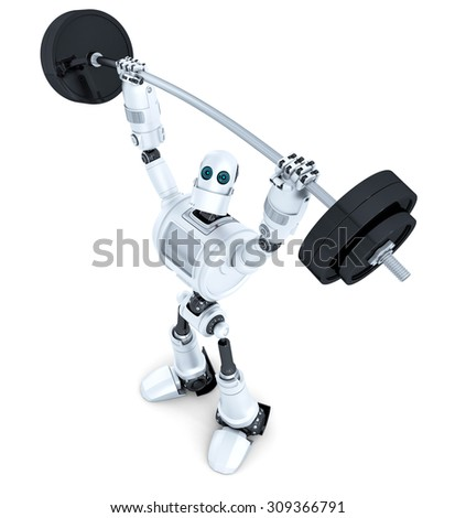 Robot with barbell. Technology concept. Isolated on white. Contains clipping path. - stock photo
