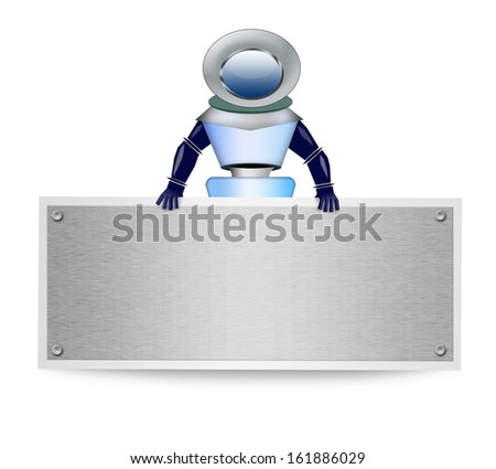Robot with blank banner on white background - stock photo