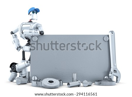 Robot with blank metallic banner. Isolated over white. Contains clipping path - stock photo