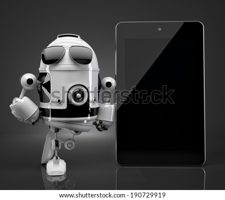 Robot with blank screen tablet computer. Contains clipping path of robot and tablet screen - stock photo