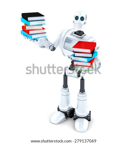 Robot with books. Isolated over white. Contains clipping path - stock photo