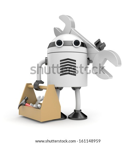 Robot with cardboard box - stock photo