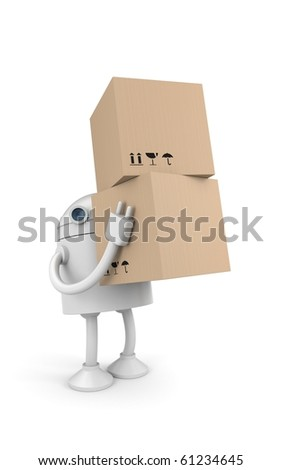 Robot with cardboard boxes - stock photo