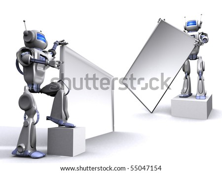 Robot with empty billboard - stock photo