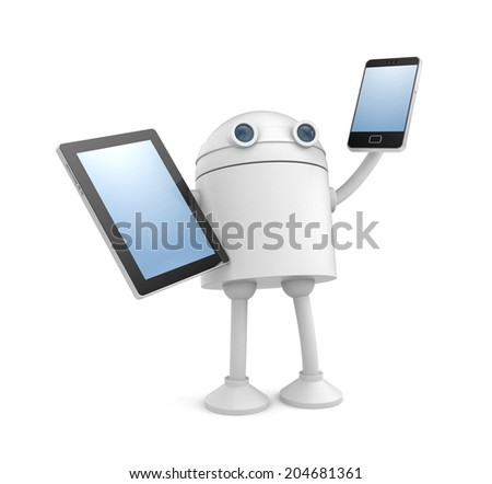 Robot with gadgets - stock photo