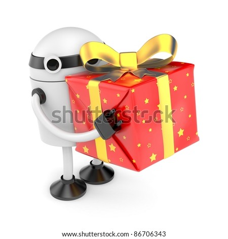 Robot with gift box - stock photo