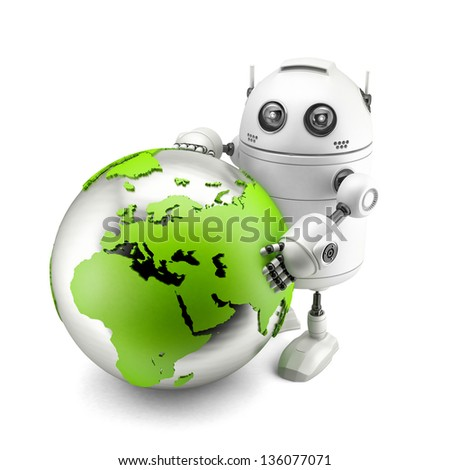 Robot with green earth globe. Isolated on white - stock photo
