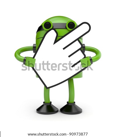 Robot with hand cursor - stock photo