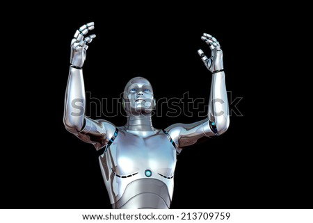 robot with hands raised - stock photo