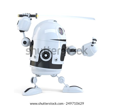 Robot with Katana sword. Technology concept. Isolated over white. Contains clipping path