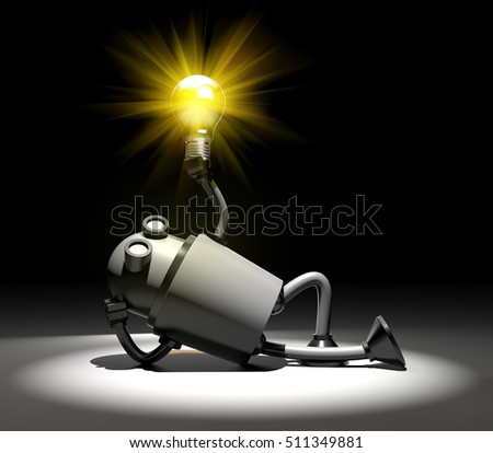 Robot with lightbulb. I have idea metaphor. 3d illustration