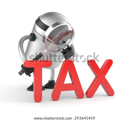 Robot with magnifying glass studies the word - TAX - stock photo