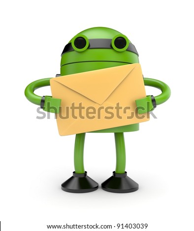 Robot with mail - stock photo