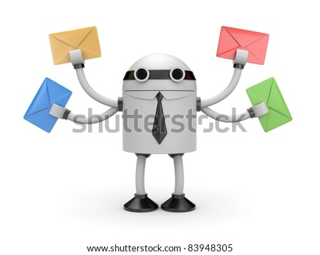 Robot with mails - stock photo