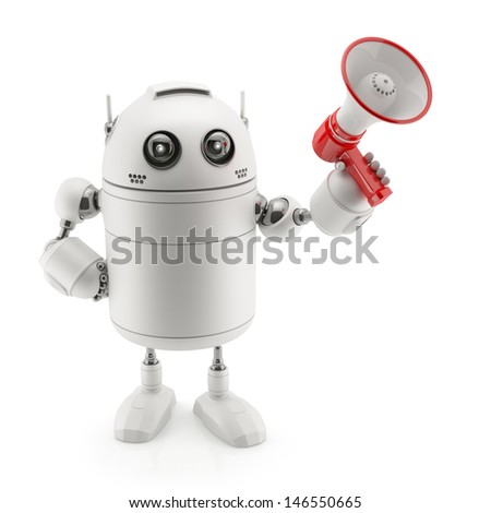 Robot with megaphone. Isolated on white - stock photo