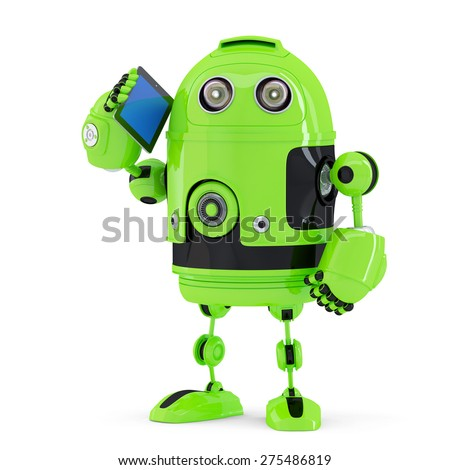 Robot with mobile phone. Isolated on white. Contains clipping path - stock photo