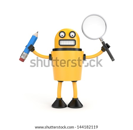 Robot with pen and magnify glass - stock photo