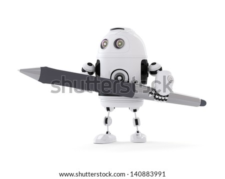 Robot with Pen. Isolated on white - stock photo