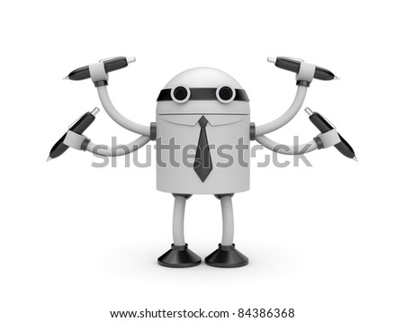 Robot with pens - stock photo