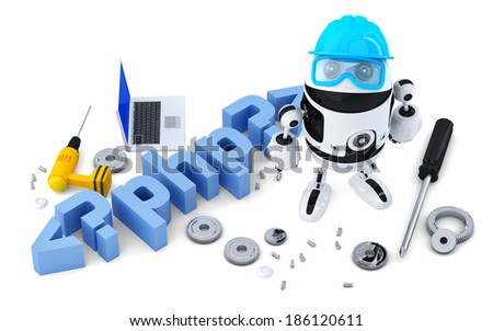 Robot with PHP sign. Technology concept. Isolated on white background. Containsclipping path - stock photo