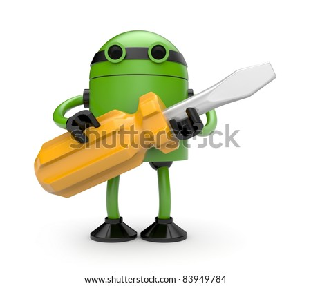 Robot with screwdriver - stock photo