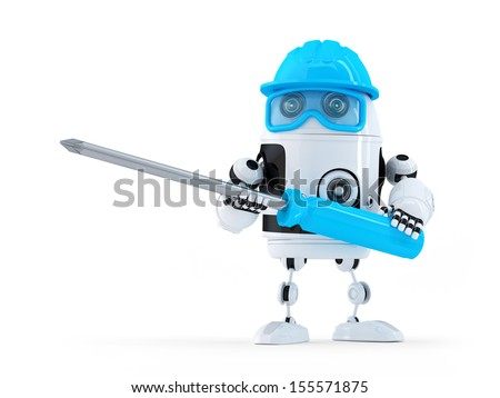 Robot with screwdriver. Technology concept - stock photo