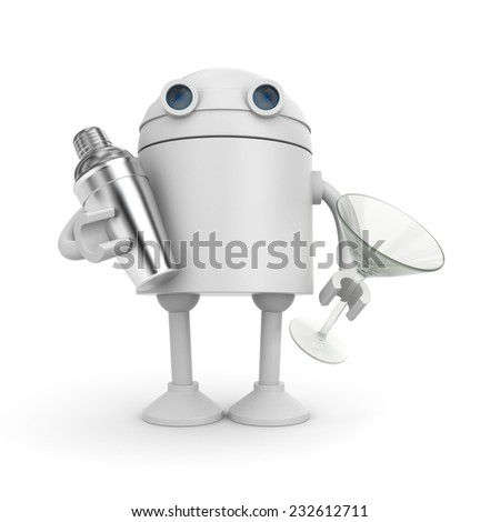 Robot with shaker and glass for cocktails - stock photo