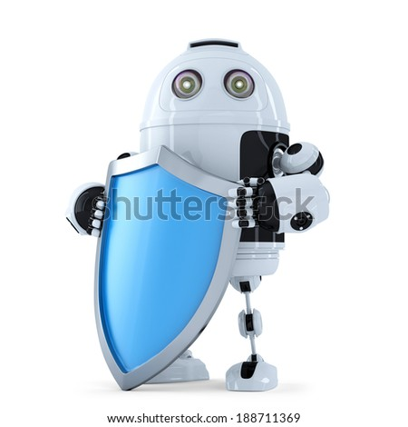 Robot with shielad. Security concept. Isolated.  - stock photo