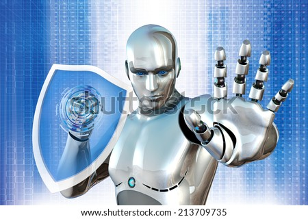 robot with shield - stock photo