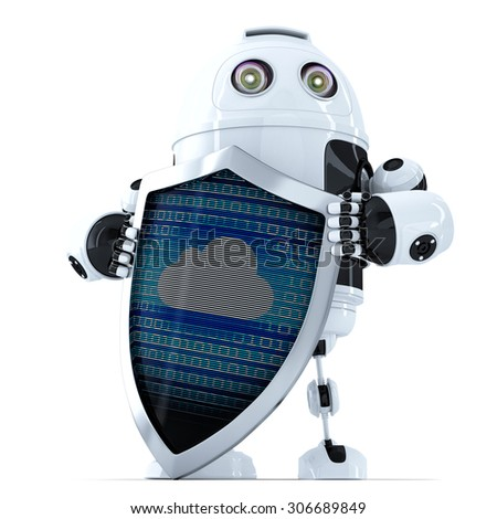 Robot with shield. Cloud Security Concept. Isolated over white. Contains clipping path