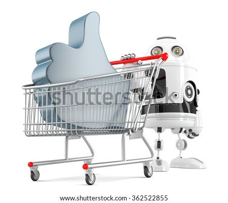 Robot with shopping cart and LIKE symbol. Isolated over white. Contains clipping path. 3d illustration