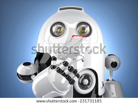 Robot with shopping cart. Technology concept. Contains clipping path - stock photo