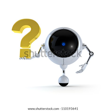Robot with Signs - stock photo