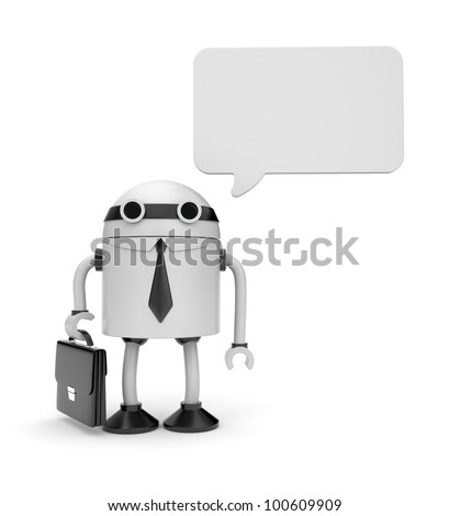 Robot with speech bubble - stock photo