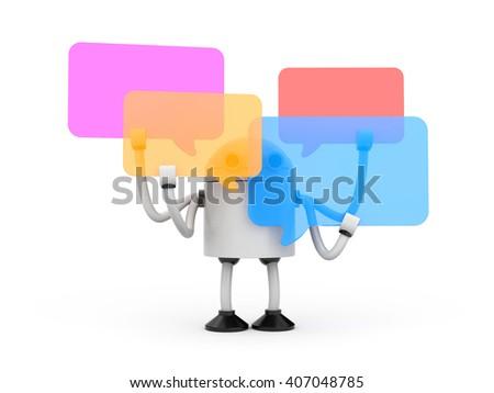 Robot with speech bubbles. 3d illustration - stock photo